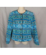 Maggie London jacket button up 10 aqua blue floral 100% silk  lined EUC - $21.51