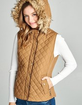 Camel Puffer Vest, Quilted Puffer Vest, Quilted Vest w Faux Fur Hood, Womens S image 3