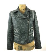 Banana Republic Coat 4 Sm S White Black Tweed Moto Jacket Asymmetric Zip... - $59.95