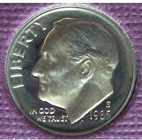 Primary image for 1985-S Proof DCAM Roosevelt Dime PF65 #374