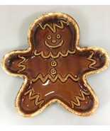 Hull Pottery Gingerbread Man Plate Art Pottery Brown Drip Glazed Dish US... - $53.90