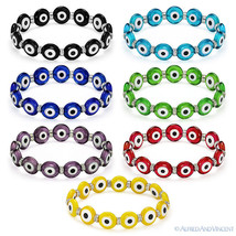 Evil Eye 12mm Bead Turkish Nazar Greek Hamsa Judaica Kabbalah Stretch Br... - $10.39