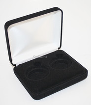 Lot of 5 Black Felt COIN DISPLAY GIFT METAL BOX holds 2-IKE or Silver Ea... - $36.58