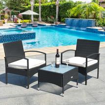 3 pcs Patio Wicker Rattan Furniture Set with White Cushion - £128.57 GBP