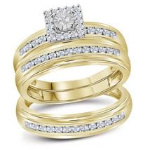 10kt Yellow Gold His & Her Round Diamond Matching Bridal Wedding Ring Set - $760.00