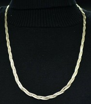 Sterling Silver .925 Italian Three Strand Braided Choker Necklace Vintage 13g - $39.59