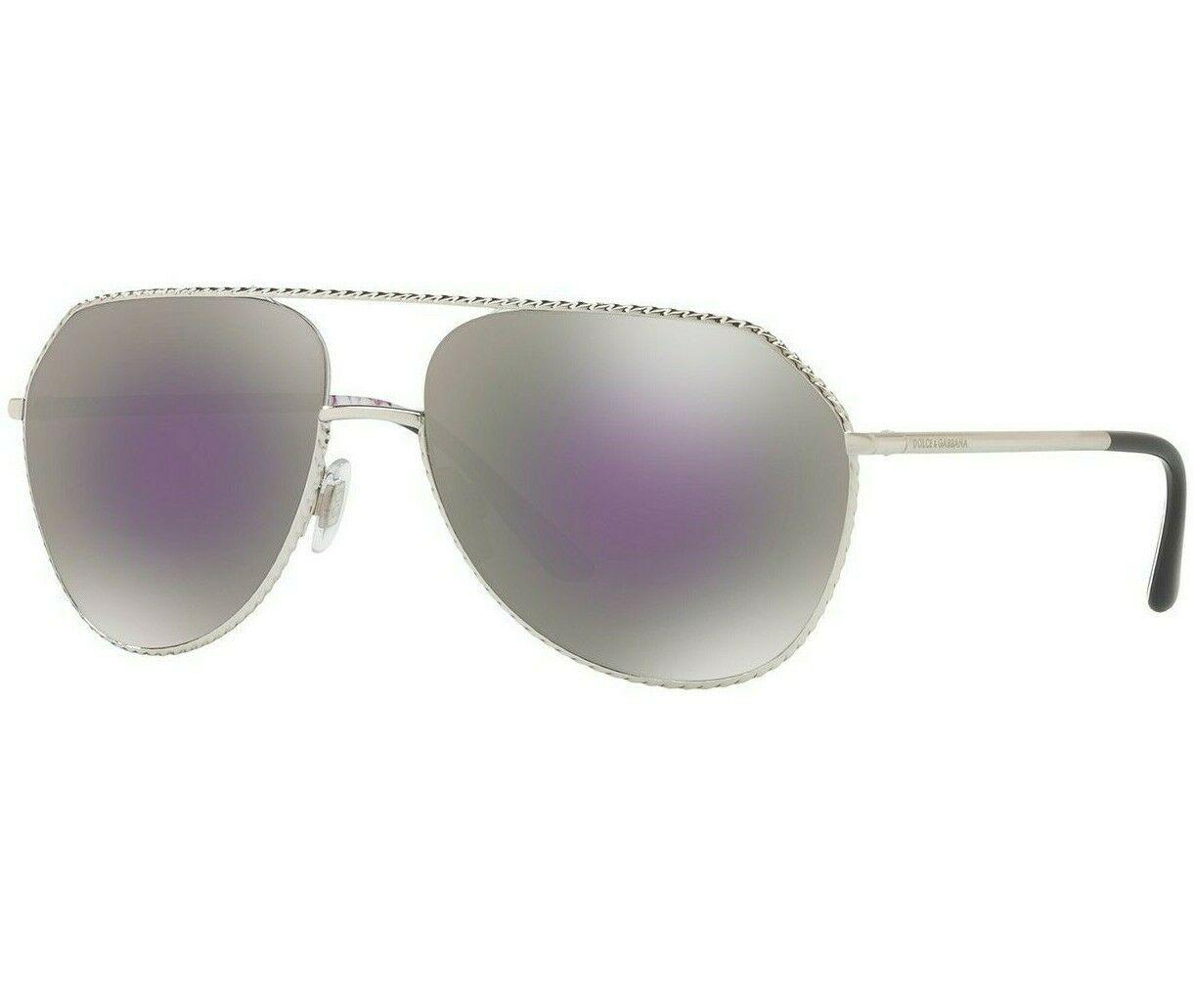 Dolce & Gabbana Pilot DG2191  Silver Frame Lilac Grey Mirror Lens Sunglasses
