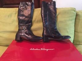 Salvatore Ferragamo Womens Tall Boots Knee High Zip Up Heel Black Leathe... - $420.75