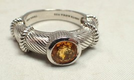 Estate Judith Ripka Sterling Silver Citrine Cable Stacking Band Ring SZ 6 - $84.14