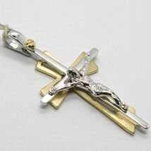 SOLID 18K WHITE YELLOW GOLD PENDANT DOUBLE CROSS, JESUS, SATIN, MADE IN ITALY image 9