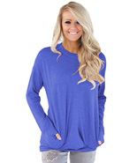 Blue Casual Pocket Style Long Sleeve Top  - $21.58
