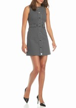 Michael Kors Black White Checked Front Snap Button Mini Dress Size 14 NEW