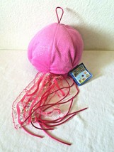 The Petting Zoo Jellyfish Plush Stuffed Animal Pink Silver Dots Sparkly - $19.78
