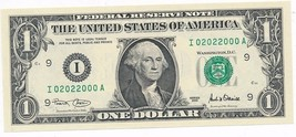 2001 $1 FEDERAL RESERVE NOTE-BINARY SERIAL #02022000-CRISP UNC! SHIPS FREE! - $29.95