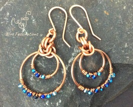 Handmade copper earrings: chainmail circles wire wrapped with blue cryst... - $35.00
