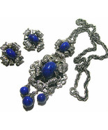 VINTAGE ART DECO NAPIER LAPIS BLUE GLASS SILVER TONE NECKLACE EARRINGS D... - $350.00