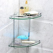 Leyden TM Solid Brass Wall Mounted Glass Double Corner Shelf with Hooks ... - $43.65