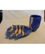 Blue & Yellow Ceramic Fish Soap Dish and Toothbrush Holder or Mug - $29.70