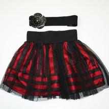 Disney D-Signed Girls Red Stripe Party Skirt and Black Flower Belt size ... - $12.99
