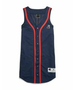 CHAMPION Womens Imperial Indigo Navy Blue Red Baseball Jersey Dress Medi... - $26.14