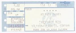 CINCINNATI @ ATLANTA 6/19/92 Ticket Stub! Braves 3 Reds 2 Dave David Jus... - $6.92