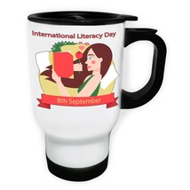 Girl Reading Romantic White/Steel Travel 14oz Mug p985t - $17.79