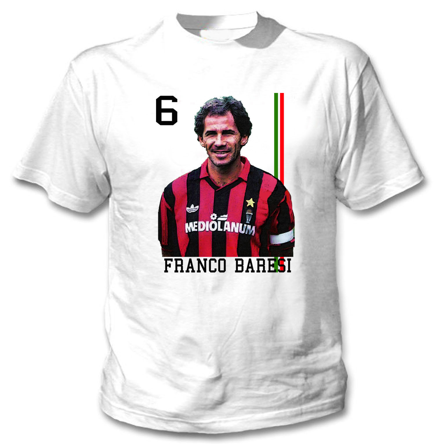 FOOTBALL LEGEND FRANCO BARESI - NEW WHITE COTTON TSHIRT