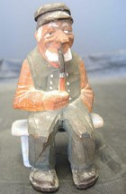 Antique Scandinavian Wood Carved Caricature Man Seated on Bench Smoking ... - $37.99