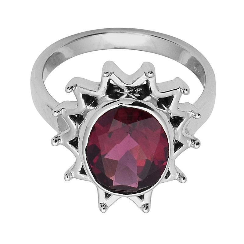 Natural Rhodolite Garnet 925 Sterling Silver Ring Jewelry Size-7.5 SHRI2454