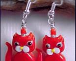 Red Kitty Cat LAMPWORK Glass Earrings