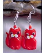 Red Kitty Cat LAMPWORK Glass Earrings - $4.95