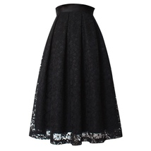BLACK LACE A Line Midi Pleated Skirt Lady High Waisted Pleated Black Lace Skirt image 4