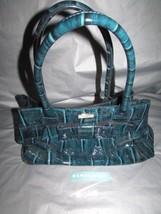 Kate Spade Blue Patent Leather Elena Knightsbridge Handbag Croc Finish W/ Bow - $143.54