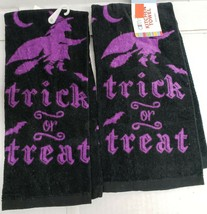 2 SAME PRINTED KITCHEN TERRY TOWELS, HALLOWEEN PURPLE WITCH, TRICK OR TR... - $12.86