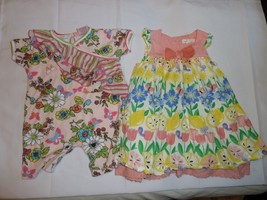 BABY GIRL SPRING SUMMER CLOTHES OUTFIT DRESS ROMPER LOT NAY PUMPKIN PATC... - $18.80