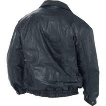 Mens Aviator Biker Flight Coat Bomber Motorcycle Black Leather Jacket image 2