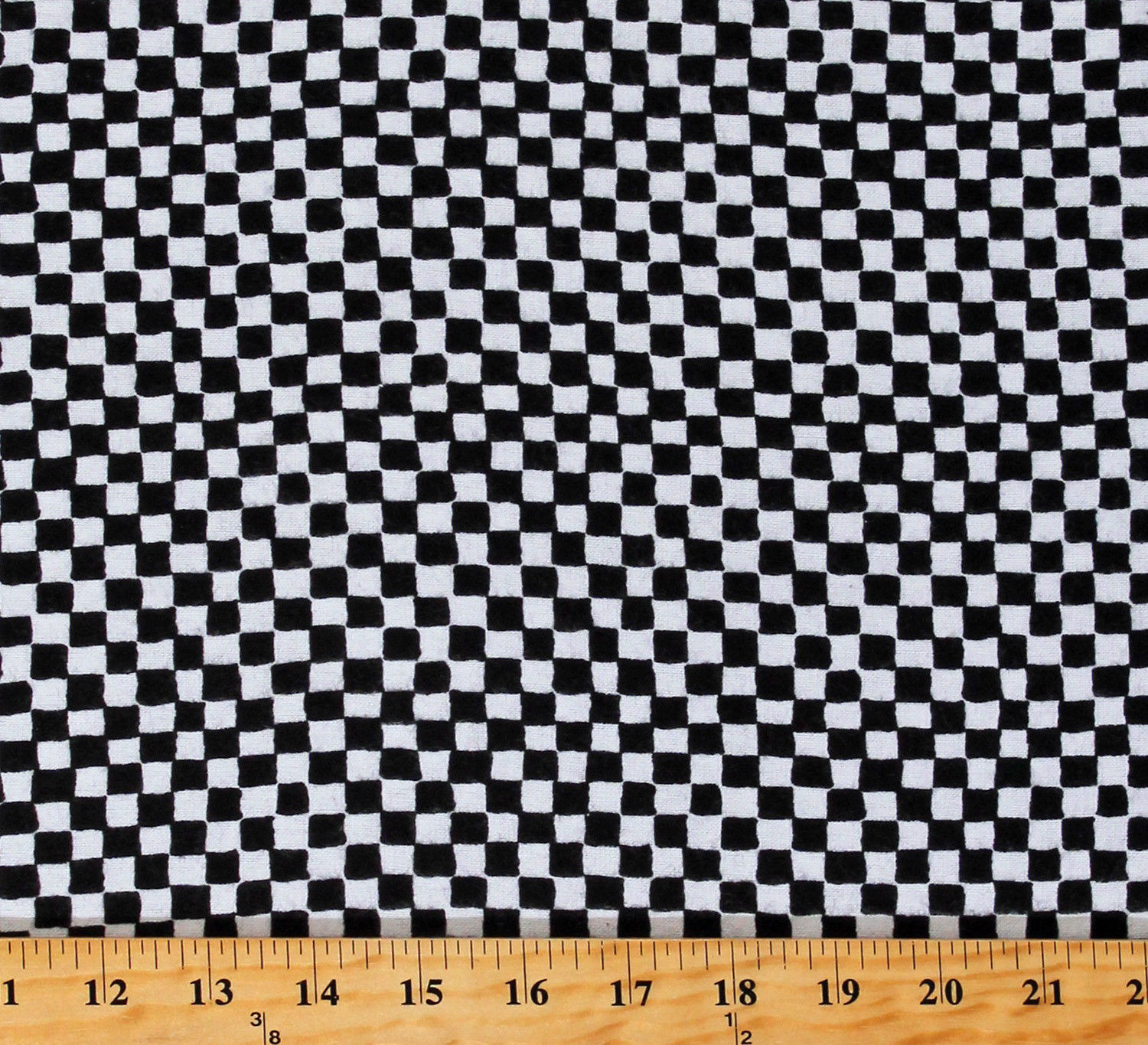 Flannel Clown Check Black & White Checkered Cotton Flannel Fabric Print D280.41