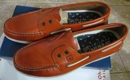 sperry top sider a/o 2 eye slip on dark tan boat shoes - $59.99