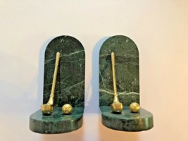 Genuine Jade Marble Golf Book Ends Green and Brass Golf Club and Golf Ba... - $86.89