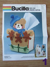 Rainbow Bear Boutique Tissue Box Cover Bucilla Plastic Canvas Patterns Only - $10.00