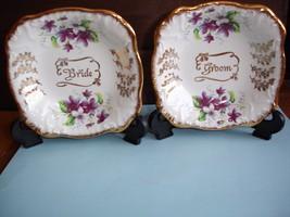 H. Aynsley&Co,England Bride/Groom Square  Porcelain Plates - $17.51
