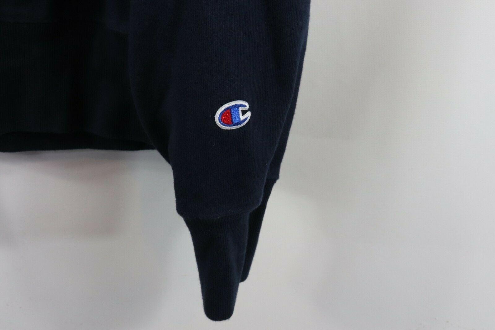 Champion Reverse Weave Mens Large Optimize Spell Out Crewneck Sweatshirt Blue image 4