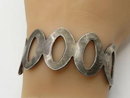 MEXICO 925 Sterling Silver - Vintage O Shape Pattern Detail Cuff Bracele... - $129.51