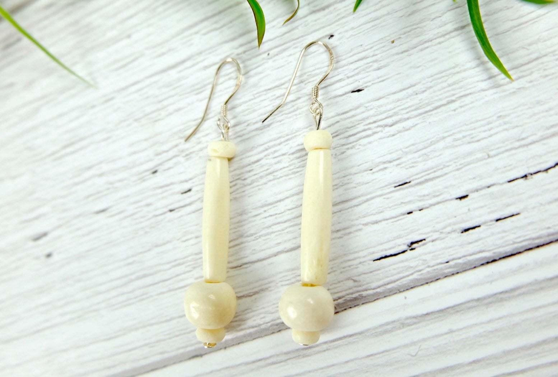 White African Bone Dangle Earrings, Sterling Silver
