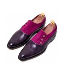 Handmade Men's Purple Leather And Suede Buttons Shoes image 3