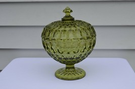 Fenton Thumbprint Colonial Green Royal Wedding Bowl #4488 CG - $49.50