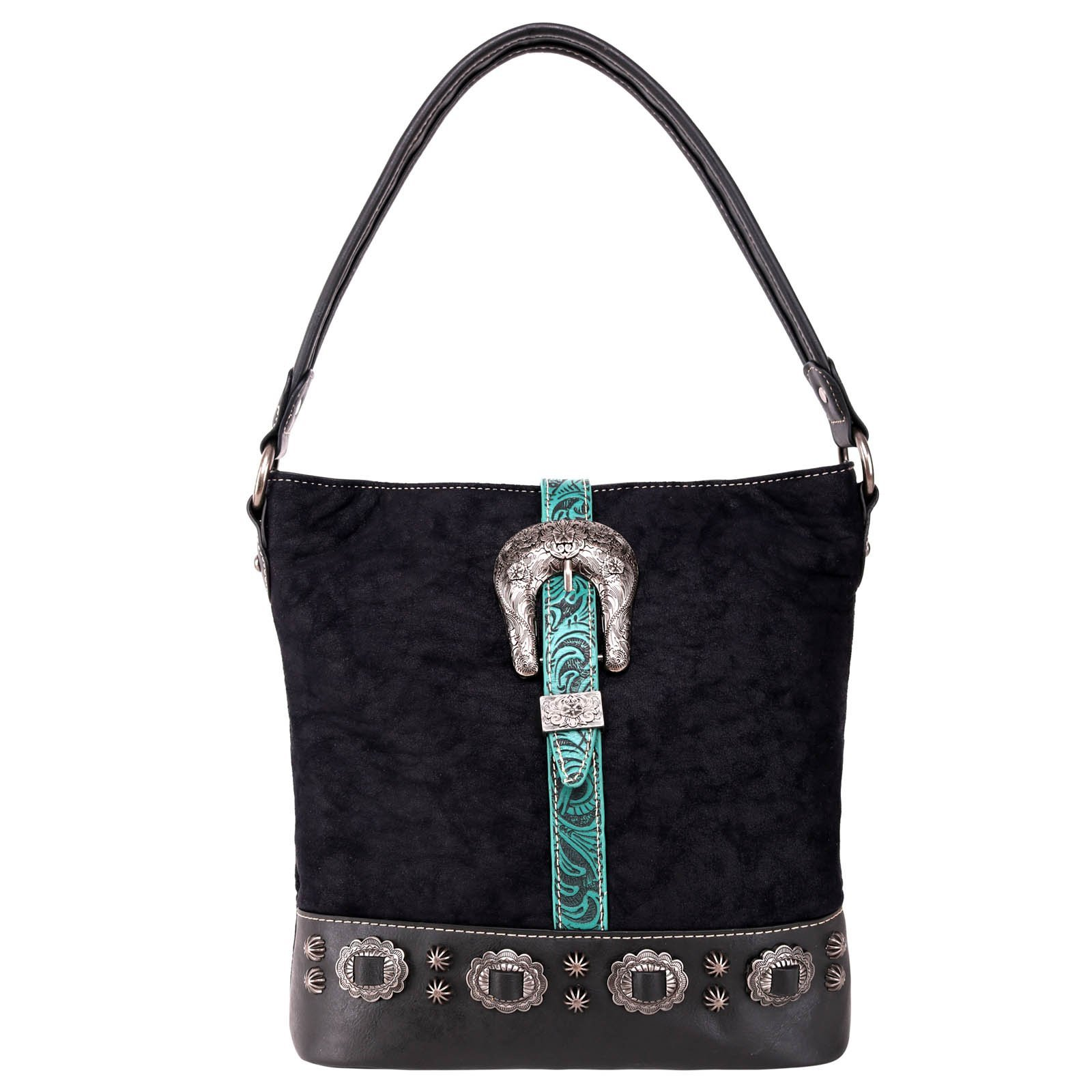 Montana West Buckle Collection Concealed Carry Bag Black Turquoise