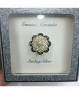 New Genuine Marcasite Sterling Silver Faux Pearl Brooch Costume Jewelry - $24.74