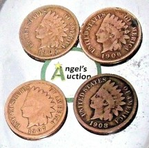 Indian Head Penny 1905, 1906, 1907, and 1908 AA20-CNP2144 Antique