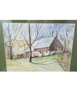 """Fall Barn Fields Trees Road Scene Watercolor Signed Haar 26.5"""" x 21.5""""  - $49.49"""